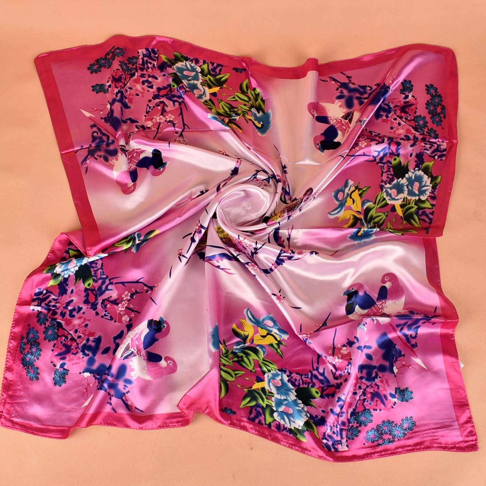 Sciarpe di modo Per Le Donne Dello Scialle di Stampa Raso di Seta Sciarpa Femminile 90 centimetri x 90 centimetri Di Lusso di Marca Piazza Hijab Scialli testa Sciarpe per le Signore