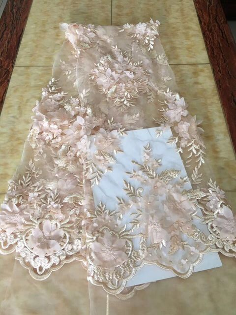 2018 High Quality Guipure African Lace Fabric 3 D Flowers Embroidered Wedding Decoration French Nigerian