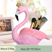New Creative Fashion Pink Flamingo Resin Pen Container Holder Home Office Organizer Desk Decoration Gift Perfect Gift