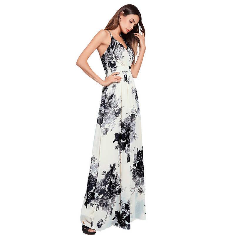 f139cb49fba34 Ruiyige 2018 Summer Boho Women Floral Print Long Dress Backless Beach  Strapless Sexy Party Boho Sundress Lining Maxi Vestidos