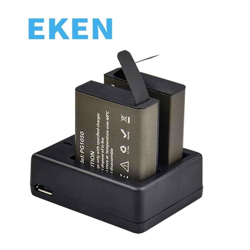 Action caméra batterie avec 2 pcs Batterie + Double ou simple Chargeur Pour EKEN H9 H9R H3 H3R H8 H8R H6S H5Splus SJCAM SJ4000 SJ5000
