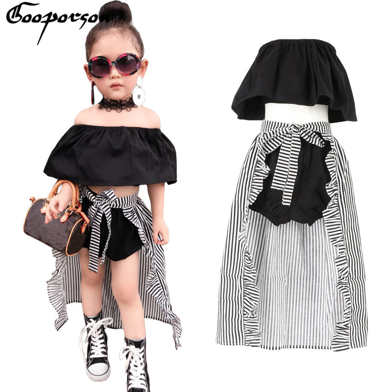 Girls Clothes Set Baby Girl's 3 Pcs Clothing Suit Cute Kids Summer Black Shirt Pants Stripe Cloak For Children Brand Outfit 4th of july baby girls clothing set summer girls tees ruffle short girls outfit american usa flag baby clothes 2pcs kids clothes
