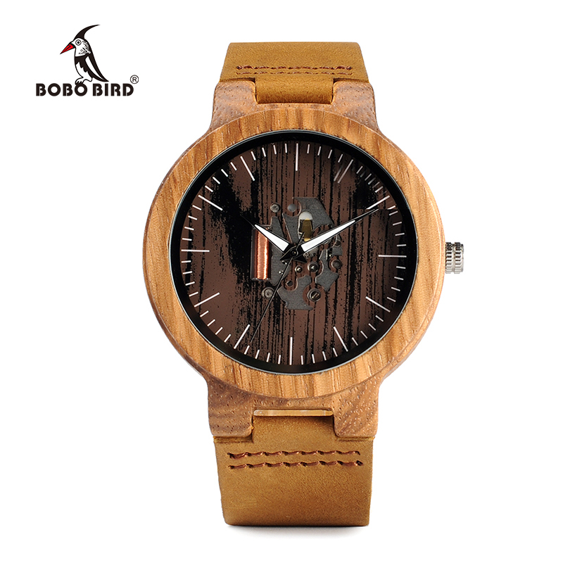 Image 2 - BOBO BIRD Watch Men Real Leather Band Wooden Quartz Wooden Watches Mens Wristwatch Great Mens Gift relogio masculino W H29watch forwatches for menwatch watch -