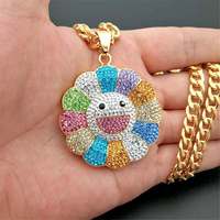 2019 new Men Hip hop Sunflower pendant necklaces Iced out bling Stainless Steel fashion Charm Pendants Necklace Hiphop jewelry
