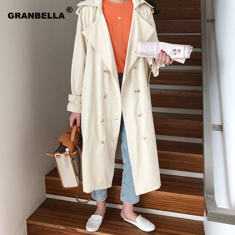 Women's Double-Breasted Trench Coat With Belt Classical Lapel Collar Loose Long Windbreaker Russia Style Chic Outwear