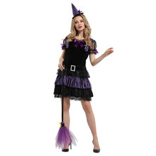 Adult Womens Purple Striped Witch Costume Cosplay Halloween Carnival Mardi Gras Party Fancy Dress цены онлайн