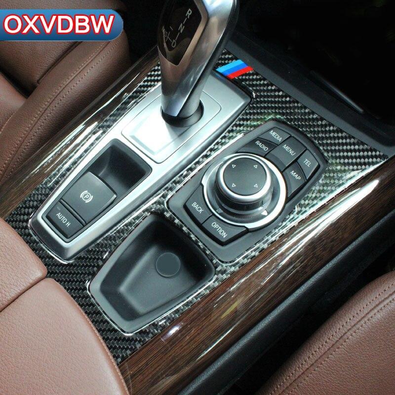 Para bmw E70 E71 Acessórios De Fibra De Carbono Adesivos Tira guarnição para o Painel de Controle do Deslocamento de Engrenagem Do Carro x5 2008-2013x6 2009-2014