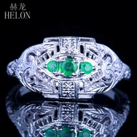 HELON Three Stone 925 Sterling Silver 0.2CT Green Emerald Vintage Antique Engagement Wedding Jewelry Women Fine Ring