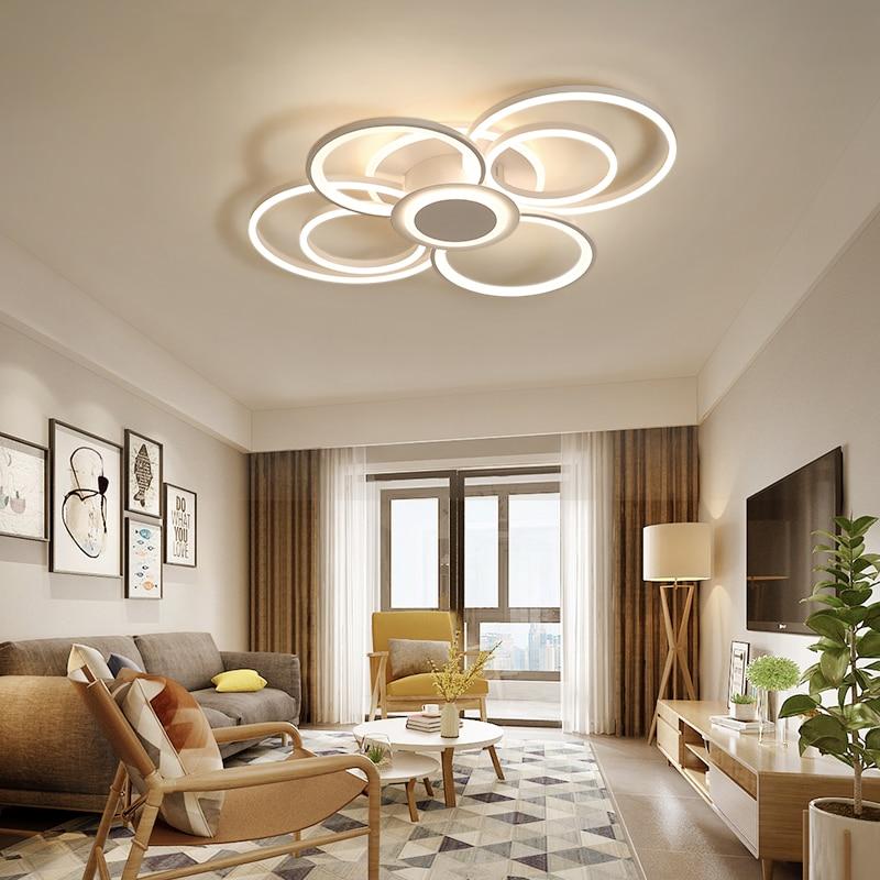 New white modern LEDCeiling Lights living room bedroom dining room lighting acrylic ring LED ceiling chandelier