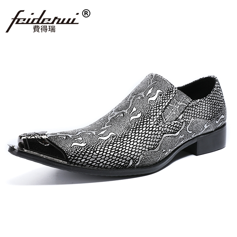 Plus Size Elegant Genuine Leather Handmade Man Casual Loafers Pointed Toe Slip on Python-Patterned Men