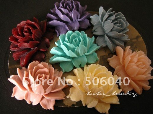 46*36mm 14Colors Resin Flower for Jewelry/Mobilephone Decoration 28pcs/lot