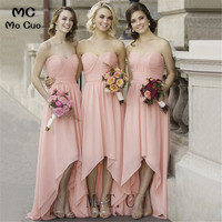 Sexy Hi Lo Gown Bridesmaid Dresses 2019 Wedding Party Dress Sweetheart Chiffon Knee Length Bridesmaid Gown Custom Made