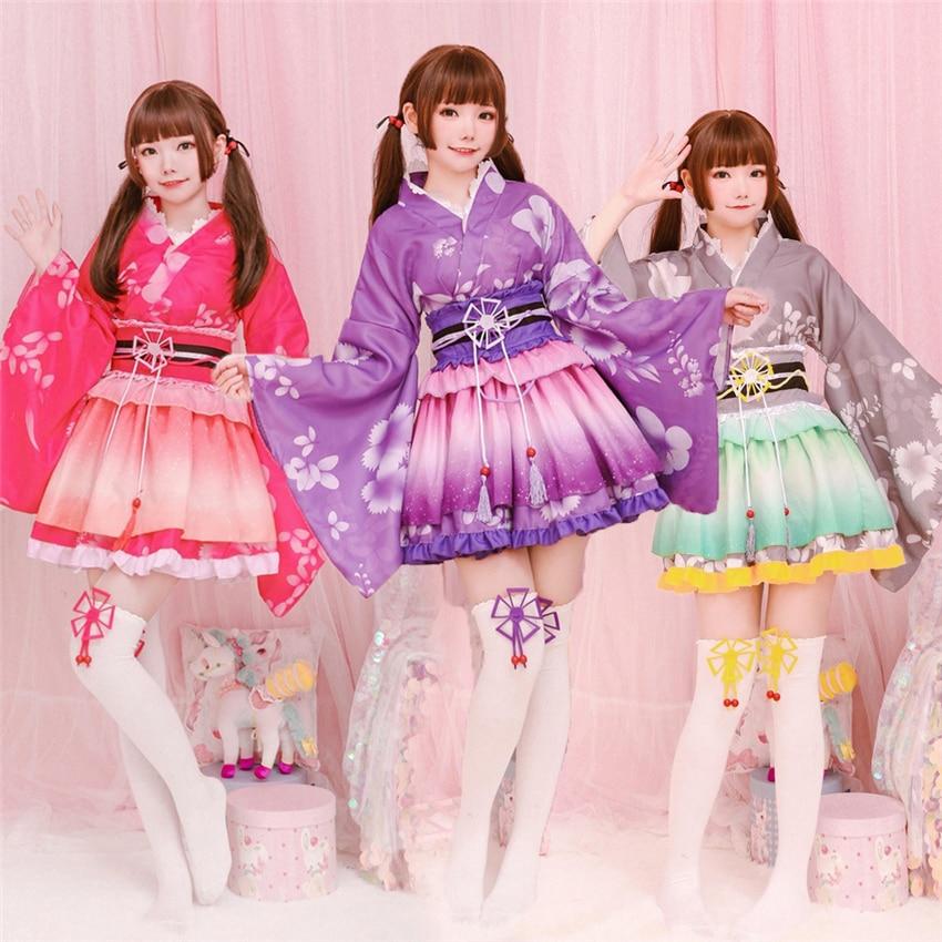 Kimono Japanese Style Kawaii Girls Floral Yukata Haori Love Live Lolita Dress For Women Party Yukata Dance Anime Cosplay Costume