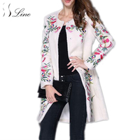 Ssline 2017 женщин шерстяное пальто вышитые О образным вырезом с длинным Однобортный женский пальто элегантные модные шерстяные женские зимние