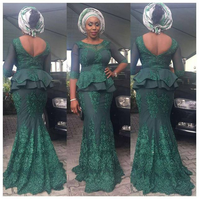 Elegant Dark Green Lace Nigeria Formal Evening Party Dresses Full Sleeves African Peplum Long Prom Gowns