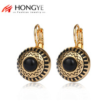 HONGYE Brincos 3 Color Stone Rhinestone Gold-Color Round Ball Carved Stud Earrings 2018 Bijoux Boucle D'oreille Ethnic Jewelry