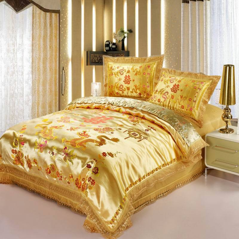 Red satin  Dragon/ phoenix chinese Wedding Bedding set print Modern suits Jacquard Bedclothes queen/king size GoldRed satin  Dragon/ phoenix chinese Wedding Bedding set print Modern suits Jacquard Bedclothes queen/king size Gold