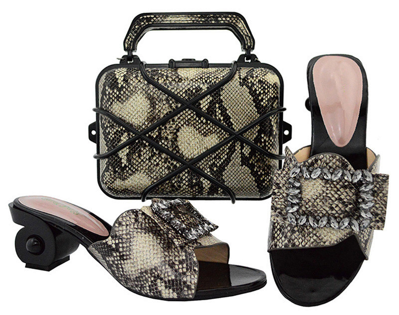 Fashionable party set matching shoes sand evening handbag set GL02 heel height6.5cm