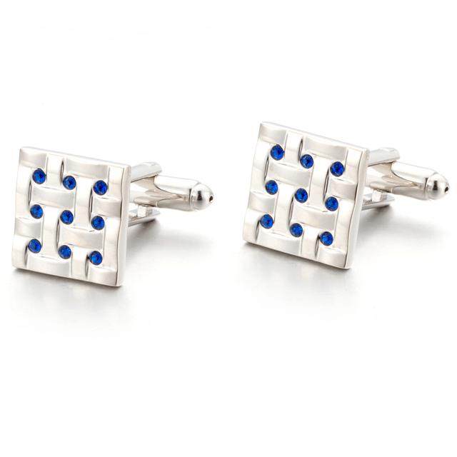 Vagula Blue Crystal Cuff Links Brass Cufflinks Wedding Gemelos Jewelry Cufflings 750