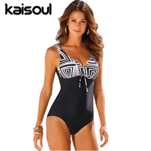 One Piece Black Swimsuit Tankini Women Swimming  Beachwear Sexy Bikini Swimwear New Arrival Geometric Pattern Tummy Control