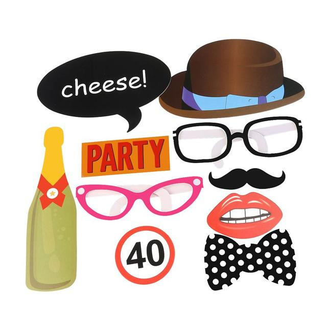 10 Pcs Set Photo Booth Props For 40th Birthday Party Pack Of Paper