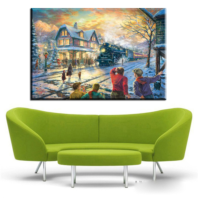 ZZ419 Thomas Kinkade Winter Landscape Christmas Painting Canvas Prints Art  For Livingroom Bedroom Decoration Wall Decor