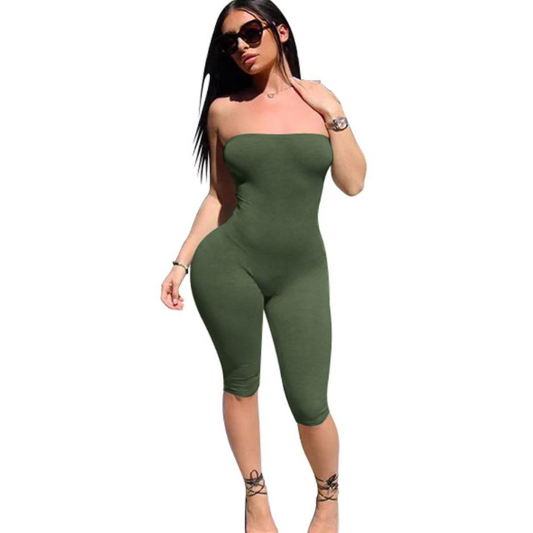 Women Casual Solid Strapless Shorts Jumpsuit None Bodycon Sleeveless Outfit Playsuit Summer Knee Length(China)