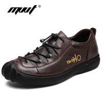 MVVT Genuine Leather Shoes Men Walking shoes Top Quality Leather Casual Shoes British Style Men Flats Rubber Sole Men Footwear