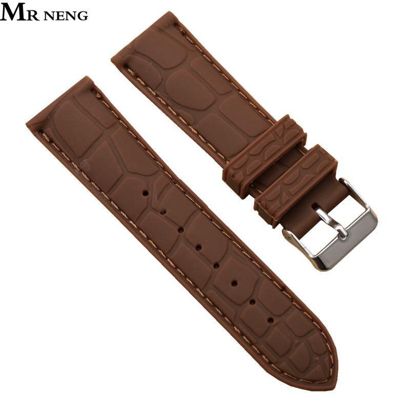 Mr Нэн бренд коричневый ремешок для часов 20 мм 22 мм силиконовая резинка часы Красочные каучуковый ремешок с пряжкой