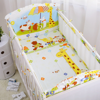 6 Pcs Set Cartoon Zoo Pattern Baby Cot Bedding Set Summer Protector Baby Bed Bumpers Crib