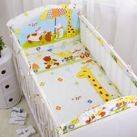 6pcs/set Happy Cartoon Zoo Baby Bedding Set Summer Baby Cot Nursing Bedding Including Air Mesh Crib Bumpers Cotton Sheet Pillow