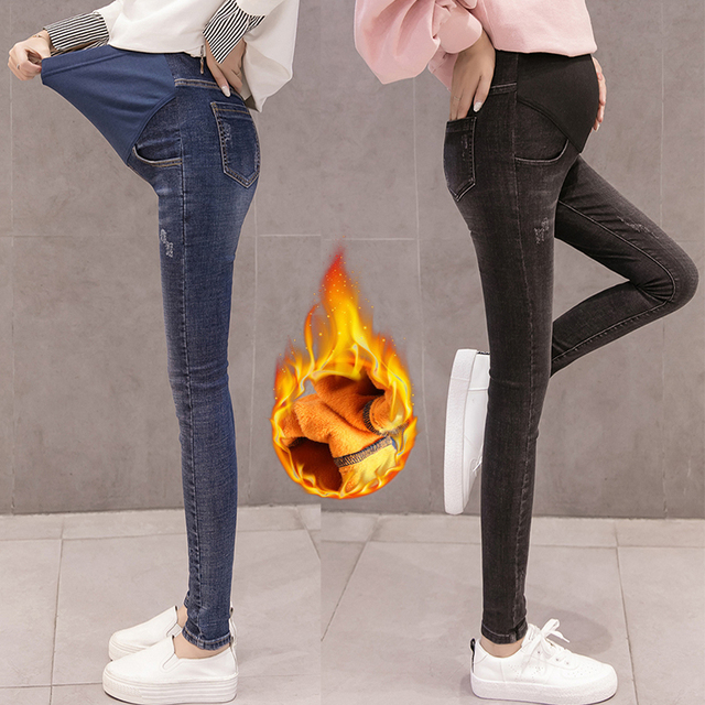 9fc2edac970a3 Maternity Jeans For Pregnant Woman Winter High Waist Pregnancy Denim Pants  Pregnant Thicken Trousers maternity clothing