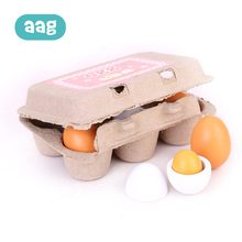 AAG 6Pcs Baby Kitchen Toys Eggs Wooden Toys Kids Food Cooking Eggs Children Cooking Toy Funny Gift Pretend Play Cook 20 new 6pcs wooden eggs yolk pretend play kitchen food cooking kid child toy gift set