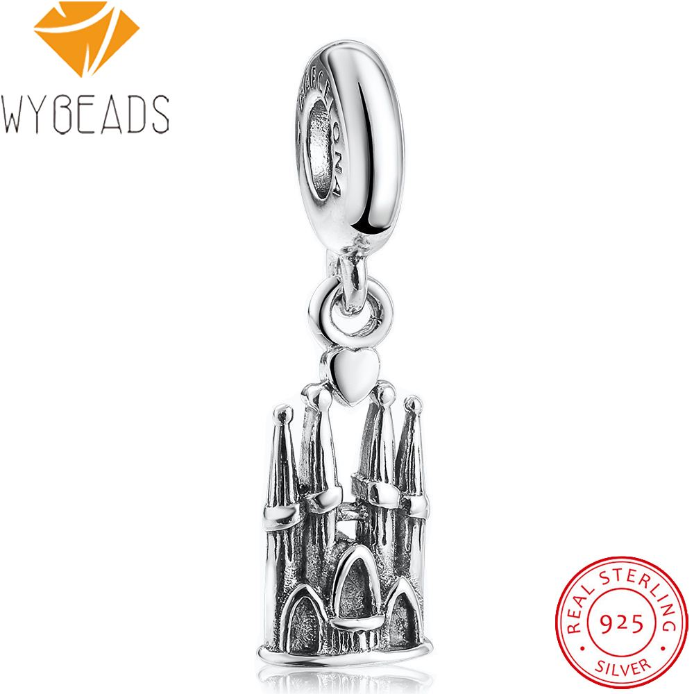 WYBEADS Fine 925 Sterling Silver Sagrada Familia Charms Pendant European Bead Fit Bracelet & Necklace DIY Accessories Jewelry