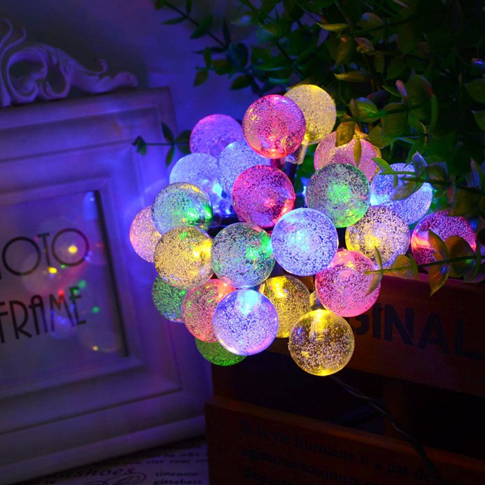 30 LED Solar String Fairy Lights Solar Power Crystal Ball Globe Lamp For Garden Light Christmas Decoration Outdoor Lighting