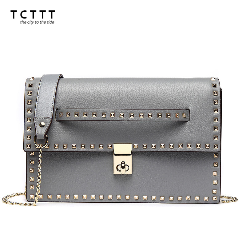 TCTTT Fashion Female chain Messenger bag genuine leather Rivet shoulder bags for women luxury designer ladies crossbody Handbags sunmejoy fashion ribbons handbags designer women bag crossbody bags rivet shoulder bags embroidered floral women messenger bag