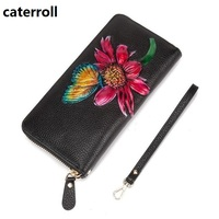 real leather wallet women luxury brand clutch purse floral ladies wallets and purses long genuine leather money bag
