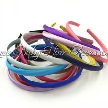 18pcs/lot 1CM Satin Plastic Headband Solid for kids DIY Accessories