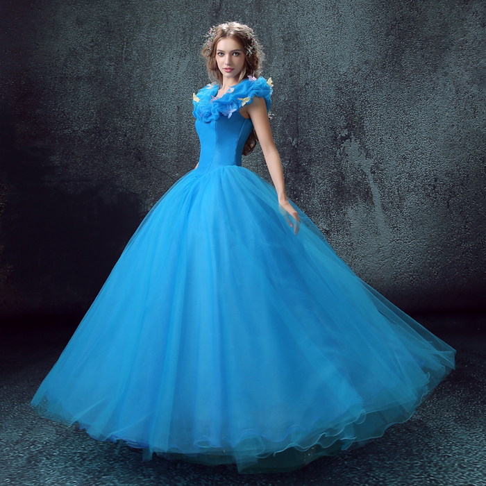 Cinderella Princess cosplay Cinderella dress for adult women blue deluxe Cinderella cosplay costume girl wedding dress