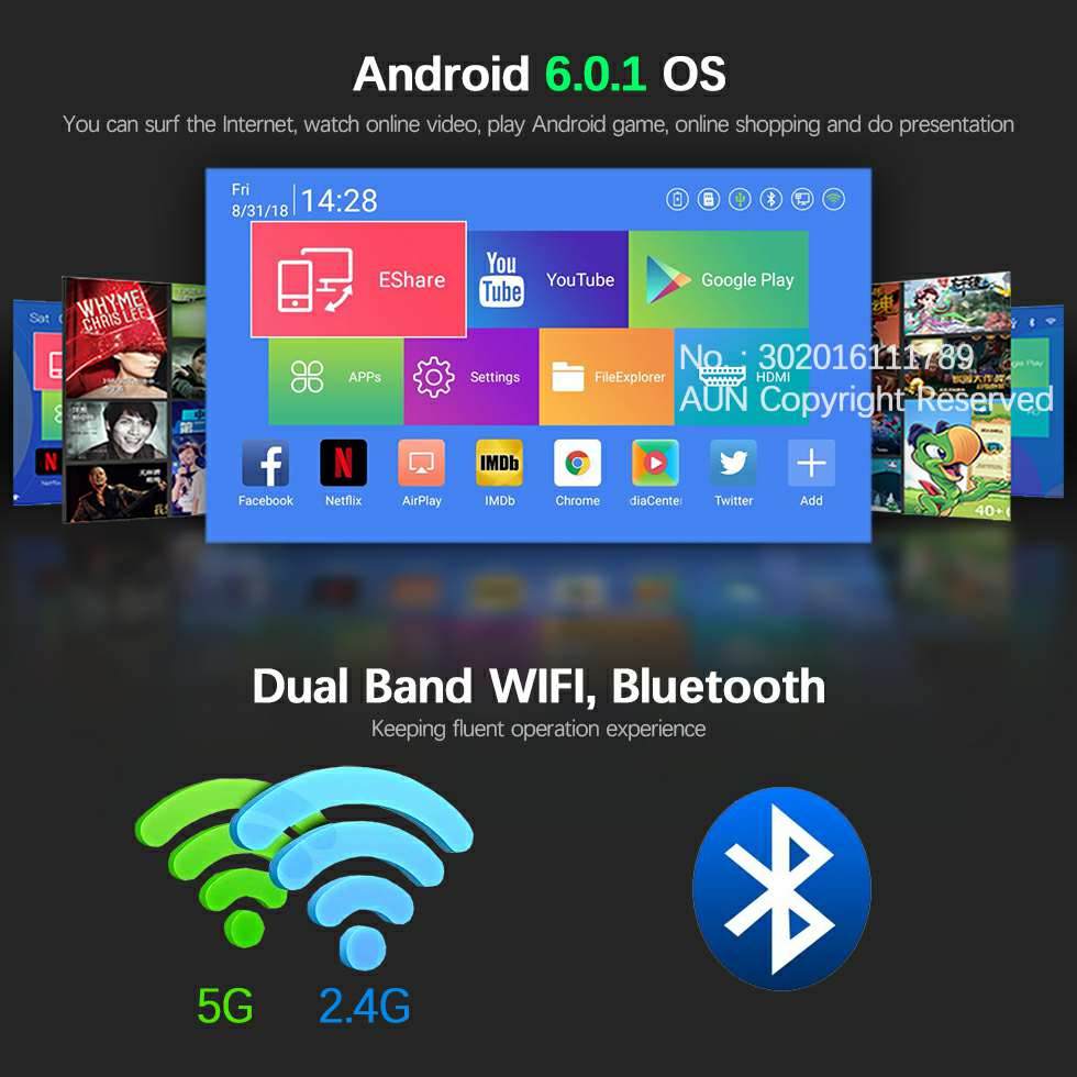 AUN 300 pouces Projecteur, 2G + 16G, 12000 batterie mah, 1280x720 P, d8S Android WIFI. Portable 3D mini projecteur led. soutien 1080 P 4 K - 3