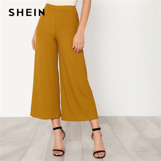 d8ec65398d SHEIN Elastic Waist Solid Culotte Loose Pants Ginger Mid Waist Women Plain  Wide Leg Trousers 2018 Autumn Elegant Work Pants