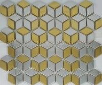 rhombus diamond shape stainless steel metal mosaic tiles for kitchen backsplash bathroom shower bedroom living room tiles