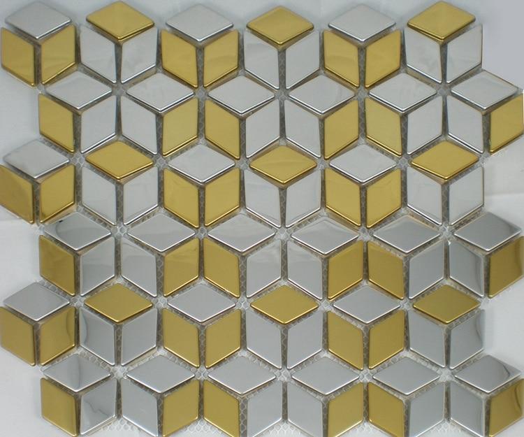 Yellow Mosaic Tile Backsplash: Rhombus Diamond Shape Stainless Steel Metal Mosaic Tiles
