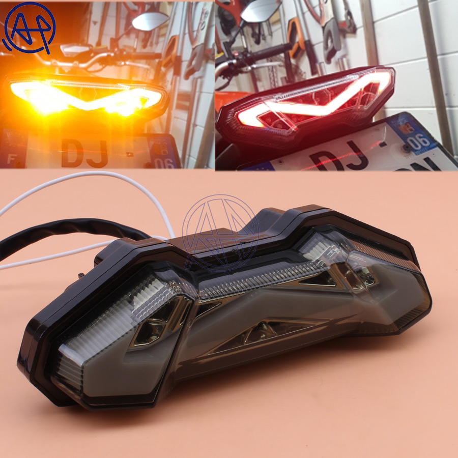 1pcs Motorcycle Black Integrated LED Brake Stop Tail Light+Turn Signals Light For For YAMAHA FZ-09 MT-09 FJ-09 MT09 Tracer 13-17