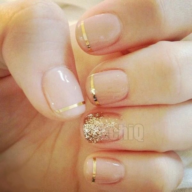 Shiny Gold Line Fake Nails Natural False Glitter Nail Art French Manicure Tool