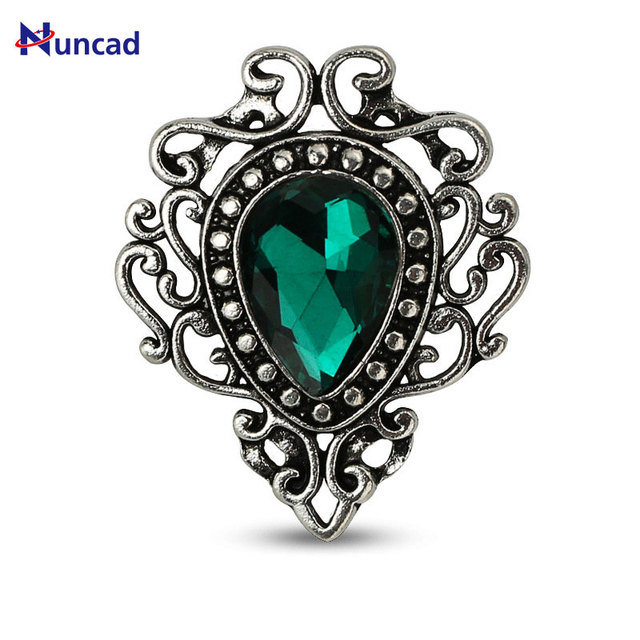 2017 New Hotsale Vintage Style Jewelry Water Drop Flower Shape Brooches Red Gree