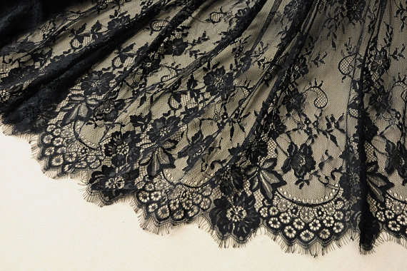 elegant eyelash black lace fabric, chic French Chantilly lace, 150cm width sell by 1 yard for wedding dress, veil, blouse, tees