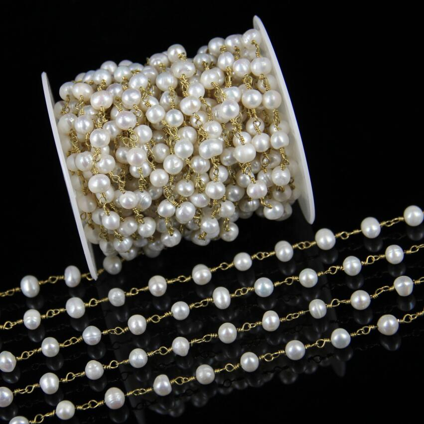 10 12mm AAA Genuine White Pearl Chains Charms Rosary Chains Wire Wrapped Nugget Pearl Plated Bronze