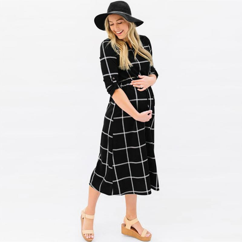New Fashion Maternity T Shirt Dress Pregnant Maternity Clothes Casual Nursing Boho Chic Tie Long Sleeves Plaid Pregnancy Clothes Buy At The Price Of 11 57 In Aliexpress Com Imall Com