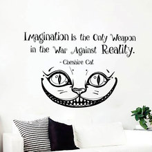 Alice In Wonderland Decal Quote Imagination Is The Only Weapon Cheshire Cat Wall Sticker Vinyl Home Decor Nursery Bedroom 3558